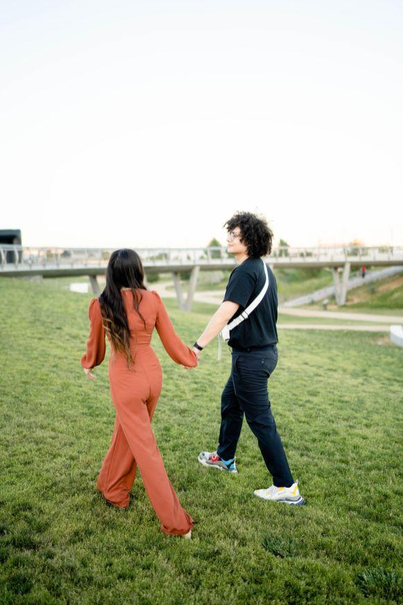 los angeles park engagement photo