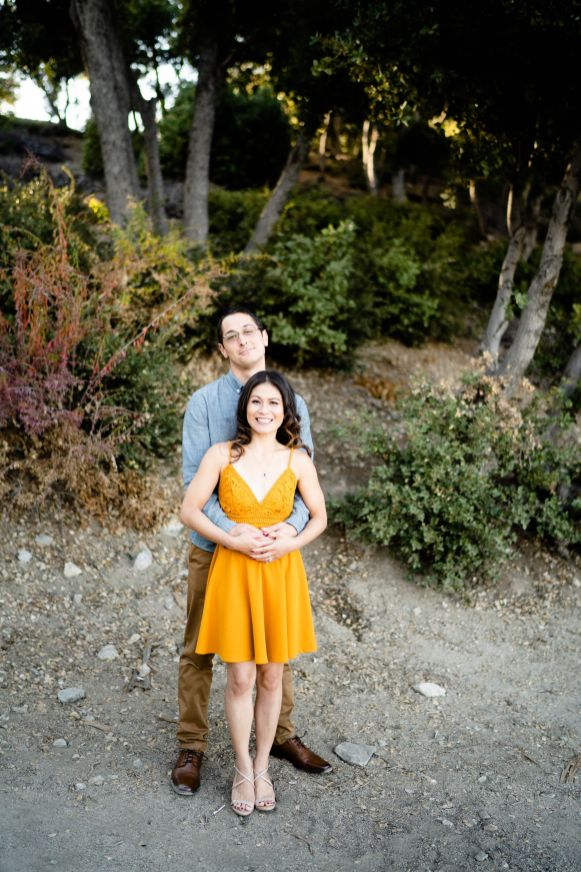 Engagement photo yellow dress