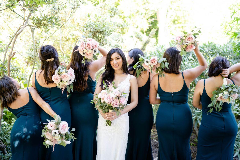 dark green bridal party