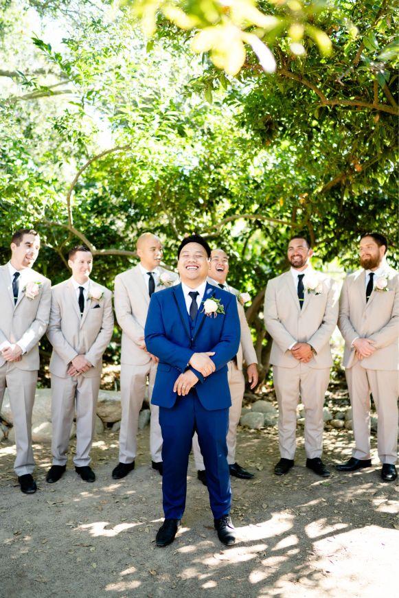 groomsmen wedding tan suits