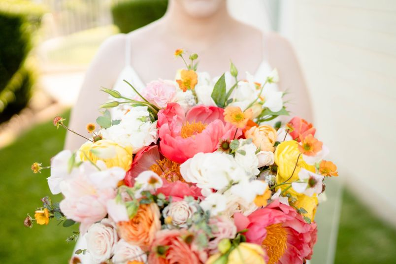peach wedding bouquet pasadena