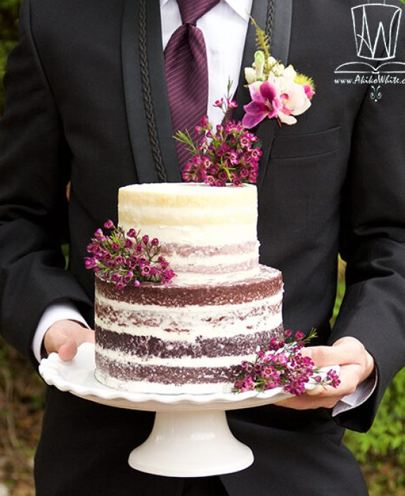 small Naked ombre plum cake