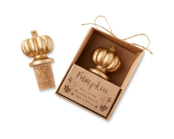 6ct Kate Aspen Gold Pumpkin Bottle Stopper