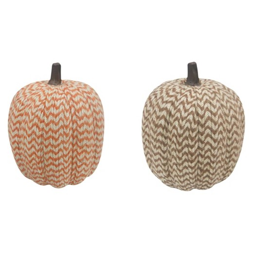 Harvest Hand-Wrapped Chevron Pumpkin Large - Assorted Colors