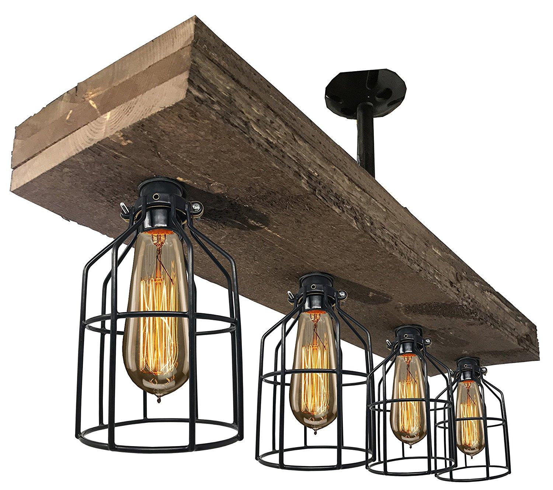 Industrial Foyer and Edison Bulb Dining Room Reclaimed Wooden Rustic Light Great in Kitchen Island Bar Triple Pendant Farmhouse Lighting Triple Wood Beam Vintage Decor Chandelier Light