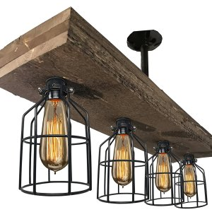 Vintage Style Triple Wood Beam Chandelier