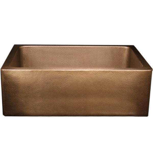 Nantucket FS-302010-HLA-IE Copper Farmhouse Sink 30 Apron Front Single Bowl Undermount Kitchen Sink