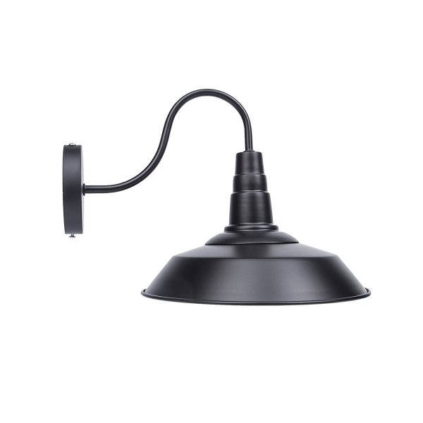 Lightess Black Wall Sconce Light with Industrial Vintage Metal Lighting Shade