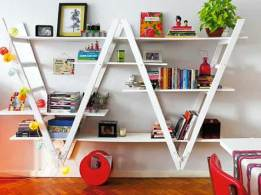 creative-wall-mounted-shelves-ideas-2-white-ladders-wall-mounted-shelf-bracket-white-shelf-design-combine-white-wall-paint-wooden-flooring-suitable-teenager-room
