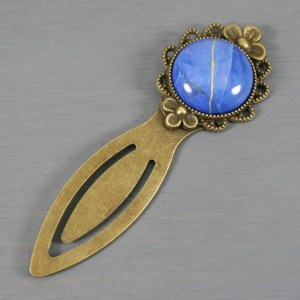 Lapis howlite with kintsugi repair on an antiqued brass bookmark