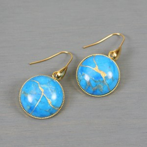 Turquoise howlite kintsugi earrings on gold plated ear wires