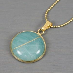 Amazonite round kintsugi pendant in a gold setting on chain