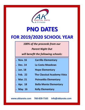 Parent Night Out dates for 2019 and 2021