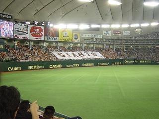 東京ドームのライトスタンドにあがるジャイアンツの旗