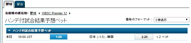 WBSCプレミア12:準決勝日本VS韓国戦オッズ