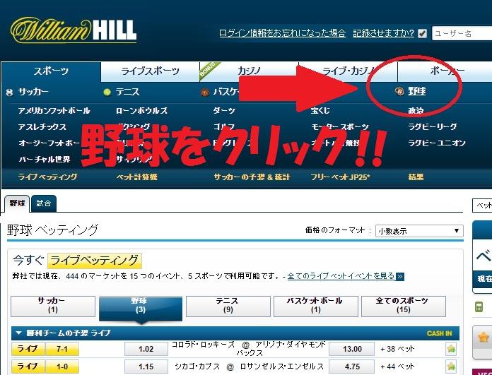 ウィリアムヒル:日本プロ野球賭け方