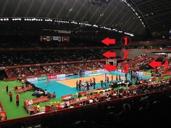東京体育館座席からの眺め:バレーボール