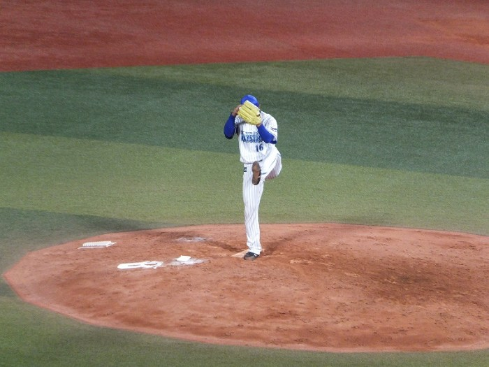 久しぶりの登板となった加賀繁投手:中継ぎ