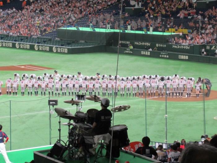 試合前の挨拶:都市対抗野球・東京ドーム