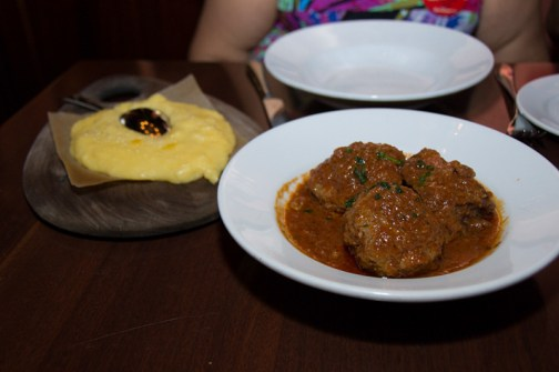 Polenta with meatballs and shortrib