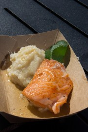 Seared salmon and cauliflower puree from Scotland's booth