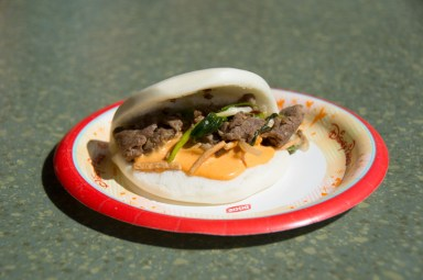 Mongolian Beef in a steamed bun from China Marketplace