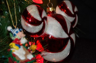 Peppermint Mickey head ornament