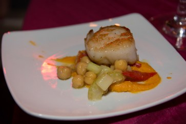 Seared Scallop with Roasted Carrot Hummus and Raw Vegetable Salad