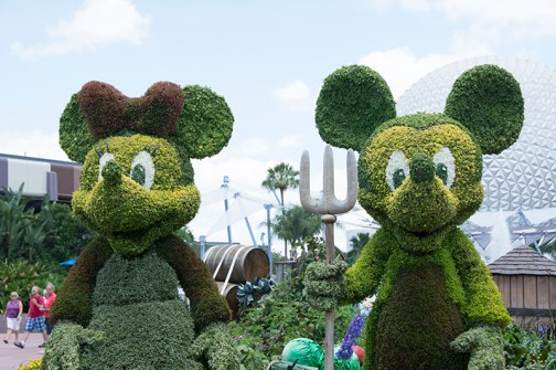 Minnie and Mickey topiaries