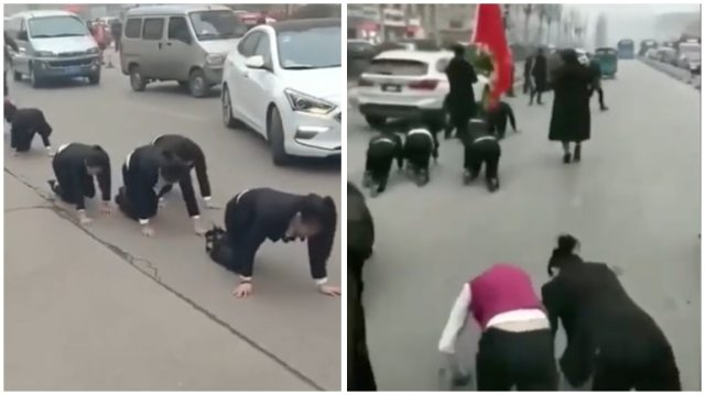 China company forces employees to crawl on road