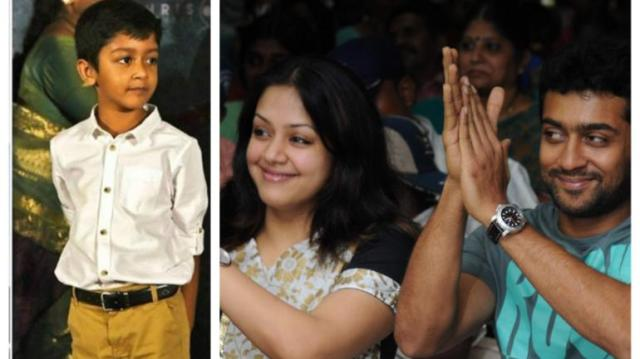 Image result for suriya-and-jyothika-are-proud-parents-as-son-dev-wins
