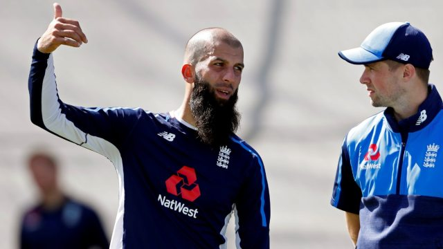 England cricketers Moeen Ali and Chris Woakes. (Reuters Photo)