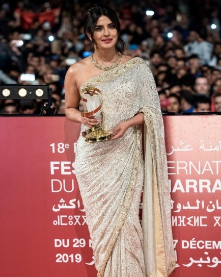 Priyanka Chopra in sequined ivory saree and strapless blouse looks ...