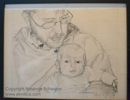 Pencil drawing of father and son.