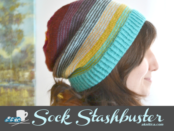 Sock Stashbuster Slouchy Hat. aknitica.com #stashbusters #knitting