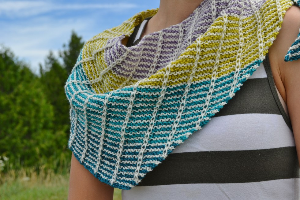 One Shawl, part of the Inverse Reverse Collection by Amanda Schwabe #OneShawl #InverseReverse #knitting @aknitica