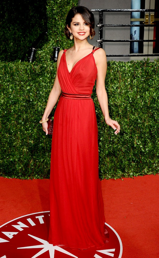Selena Gomez Evening Dress Oscars Red Carpet Chiffon Celebrity Bridesmaid Dress