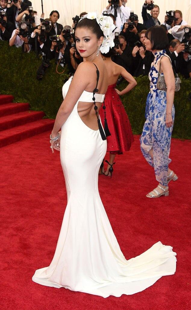 Selena Gomez White Mermaid Sweep Train Red Carpet Dress