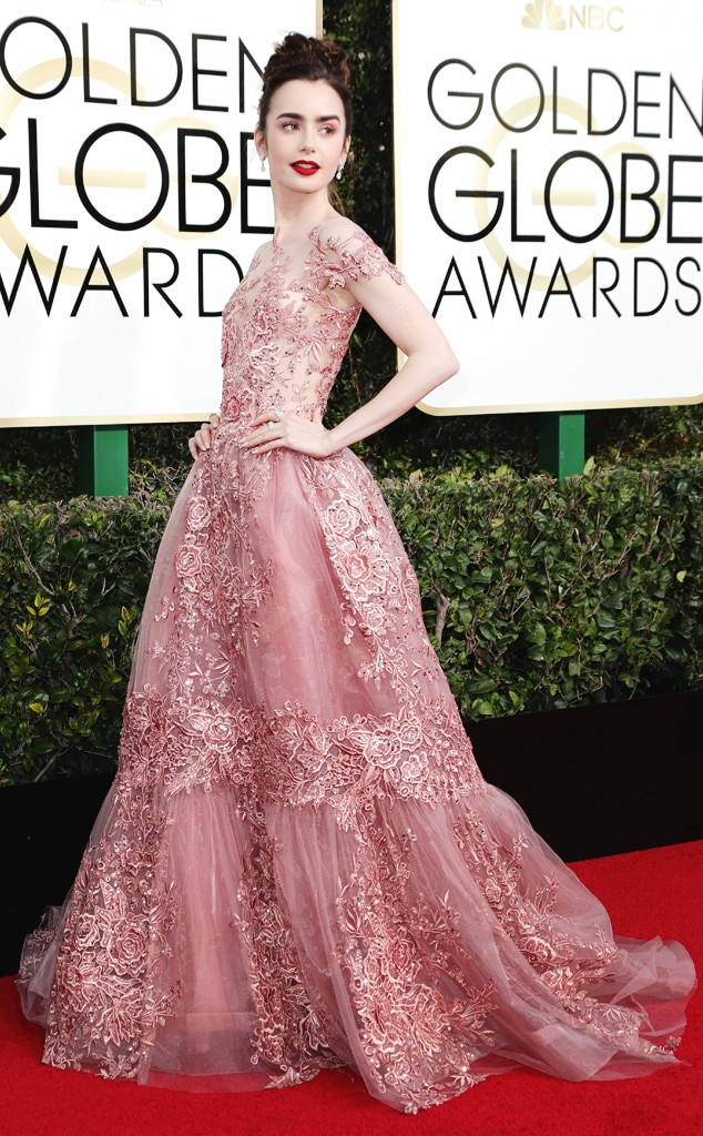 Image result for lily collins golden globes 2017