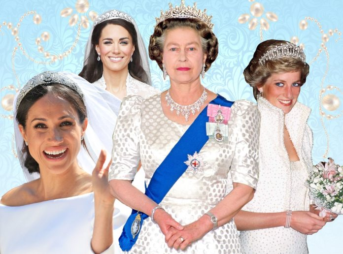 Royal Tiaras, Meghan Markle, Kate Middleton, Princess Diana, Queen Elizabeth II
