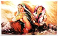 Oil painting of Indian women. Artist unknown.