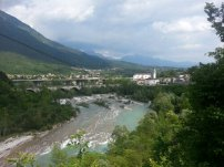 We stopped to look over a cliff by Autostrada A-27, towards Belluno, Italy. Photo taken by Trina Otero.