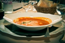 Bell pepper soup with grilled bass. Lake Bled Castle, Slovenia, June 2013. Photo © Deja'vu Gallery