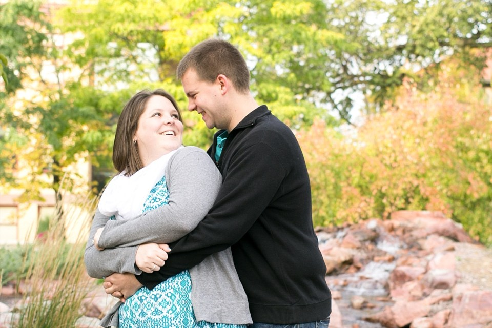 NDSU engagement session in a blue dress with a white scarf