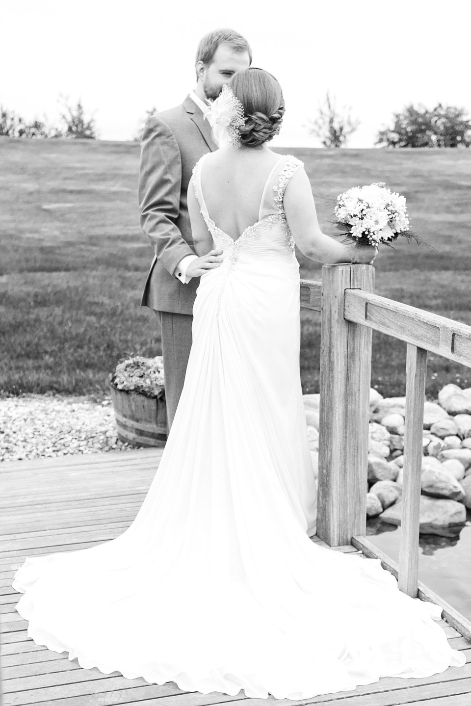 Black and White Portrait shows off bride's wedding train at Carlos Creek Winery wedding