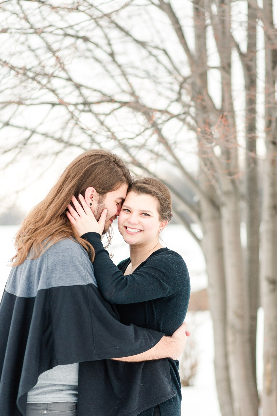 Moorhead engagement session in snowy Johnson Park