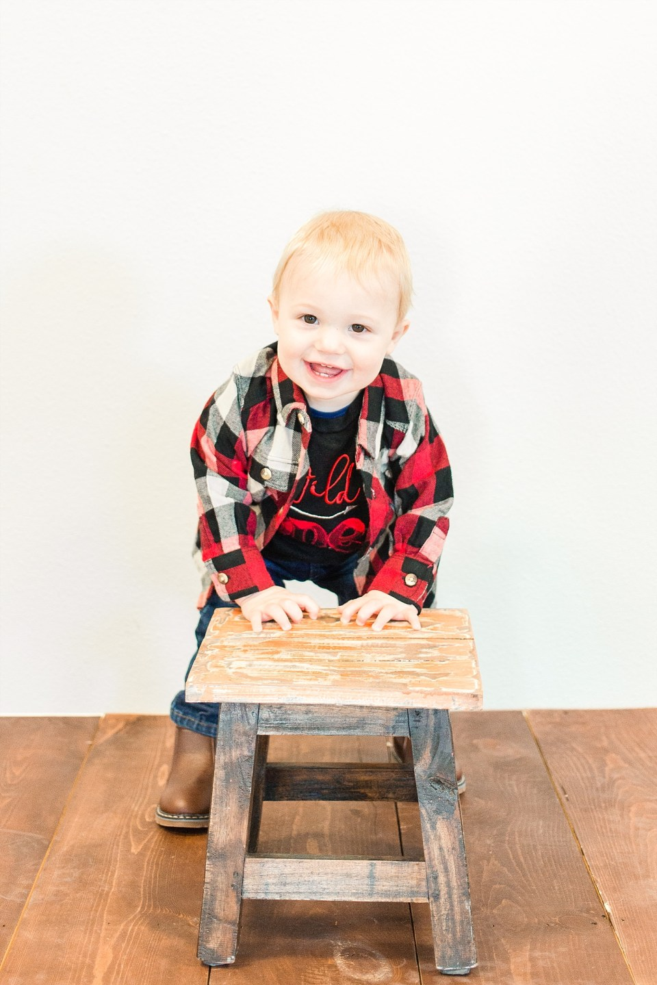 One year old in Flannel
