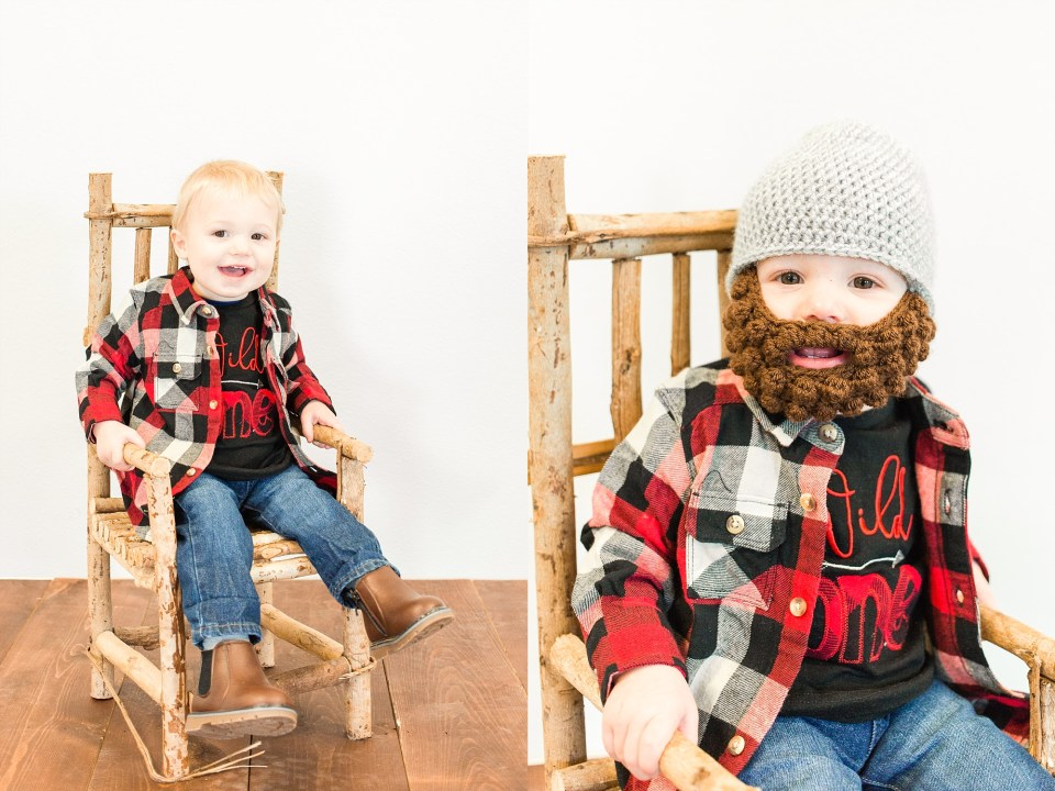 One year old in Flannel with fake beard