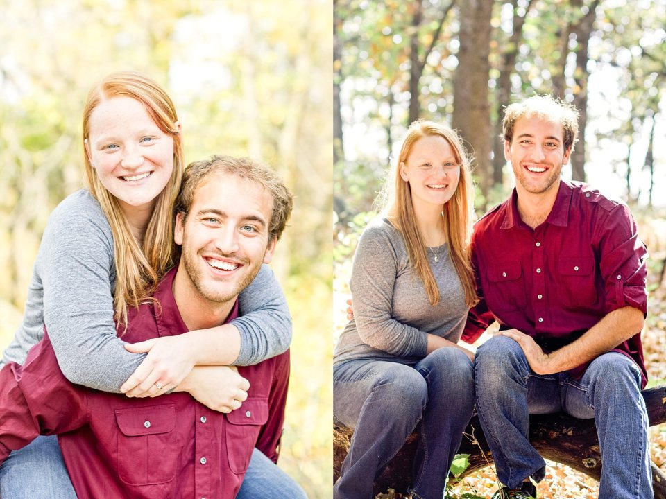Redhead and brunette couple in the trees for their Buffalo River State Park Engagement Session