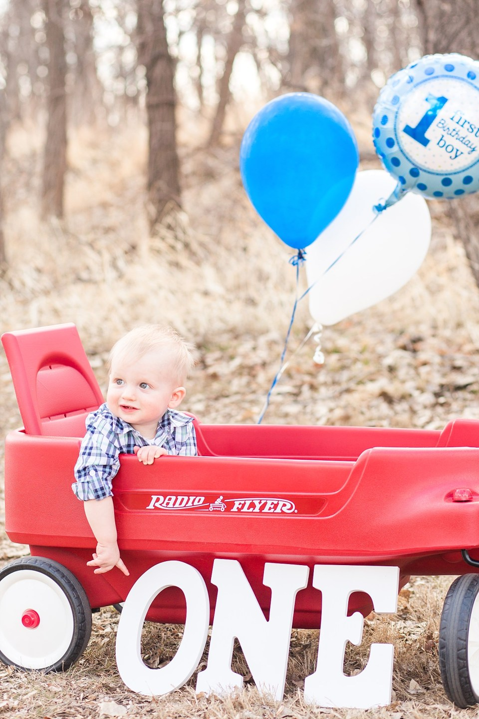 Little boy in red wagon points down to his first birthday words spelling out one